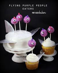 cake pop halloween flying purple people eaters cake pops