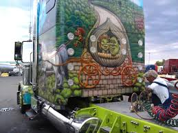 kenworth mississauga custom painted mural with shrek and his bride on a beautifully