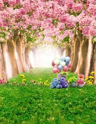 8x12ft Pink Flowers Blossom Trees Tunnel Bear Green Grass Path