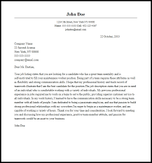 luxury sample cover letter for maintenance position 45 about