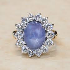rings star sapphire images Vintage 18k yellow and white gold diamond and blue star sapphire jpg