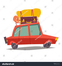 family car side view car traveling vehicle transport baggage red stock vector 508796251