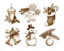 pencil drawings of christmas decorations u2014 stock photo sashsmir