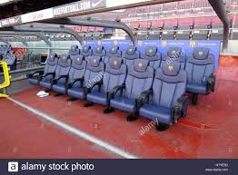Stadium Bench Substitute Bench In Camp Nou Which Is A Football Stadium In Stock