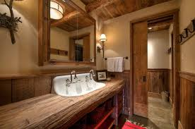 high end wood bathroom rustic with medicine cabinet transitional