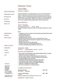 Resume For A Student Auto Sales Resume Template
