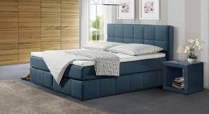 Schlafzimmer In Blau Braun Boxspringbett In Komforthöhe Mit Stoffbezug Belfort