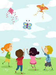 illustration of kids flying kites stock photo picture and royalty