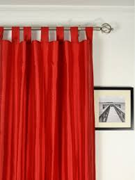 Grey Red Curtains Living Room Tab Top Curtains With Red Curtain And White Wall