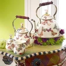 buy mackenzie childs butterfly garden enamel tea kettle white