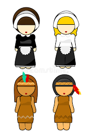 thanksgiving indians and pilgrims royalty free stock photos