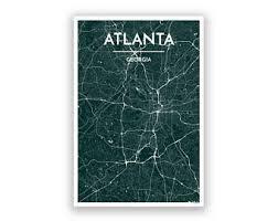 atlanta city us map atlanta city map etsy