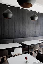 modern bistro restaurant displaying black and white design