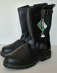 mens motorcycle boots size 13 black leather die hard slip on shock