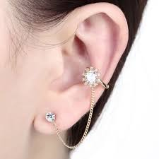 stud earrings with chain flower dangle chain ear wrap cuff earring chain ear cuff car