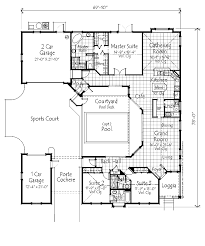 Pleasant 1 Bungalow House Plans With Porte Cochere Courtyard Pool