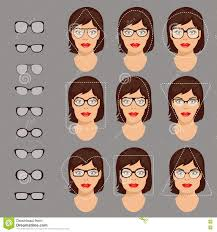 triangle and rectangular face hairstyle female glasses shapes 1 stock vector illustration of circle 75530306