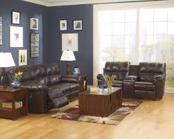 ashley kennard chocolate leather match reclining sofa and loveseat set