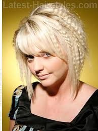 slanted hair styles cut with pictures eighties cut blonde crimped long bangs long pieces slanted cut