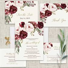 blush and gold wedding invitations fall wedding invitations burgundy wine gold blush floral