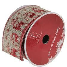 wandering red reindeer brown burlap wired christmas craft ribbon