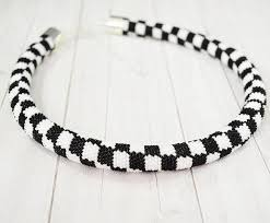 black beaded rope necklace images Necklace black and white checkerboard pattern crochet hook jpg