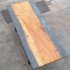 concrete and wood dining table custom concrete and exotic wood dining conference table by the