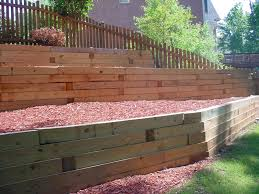 retaining walls wood aca landscaping