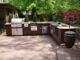 Outdoor Kitchen Granite Countertops Garden Outdoor Barbeque Grilling Island With Black Granite