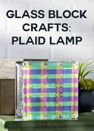 glass block crafts plaid lamp mod podge rocks