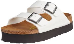 birkenstock papillio arizona patent white platform sandals narrow
