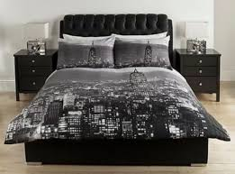New York City Bedroom Furniture by Black U0026 Grey New York City Scape Double Duvet Cover Bedding Set