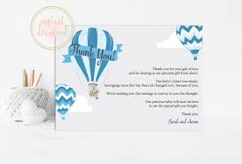 blue air balloon thank you card baby shower thank you instant
