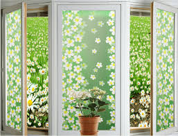 Decorative Window Film Stained Glass 1pc Green Lilac Static Cling Window Film Stained Glass Paper