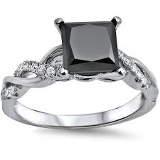 white gold princess cut engagement ring noori 14k white gold 1 1 3ct tdw black princess cut