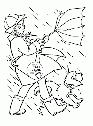 windy and rainy spring coloring page for kids seasons coloring