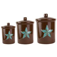rustic kitchen canister sets delectably yourscom 3 pc western turquoise star canister rustic