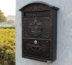 2018 cast iron mailbox postbox embossed trim decor metal mail post