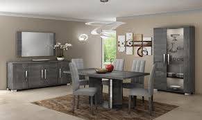 grey dining table set modern venicia collection extending dining table in grey birch look