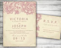 Invitations And Rsvp Cards Pink Blush Lace Marriage Invitation And Rsvp Card Vintage