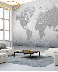Simple European Living Room Design by Online Shop Custom 3d Wallpaper Gray Tone World Map Modern Simple