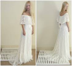 vintage style wedding dress off the shoulder lace ivory 70s