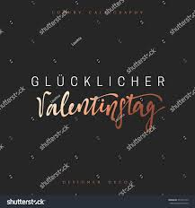 happy valentines day lettering german inscription stock vector