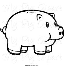 swine clipart of a black and white happy piggy bank by cory thoman