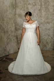a line empire short sleeves pleated organza lace white plus size