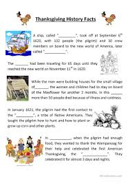 teaching thanksgiving history worksheet free esl printable