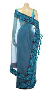 arong saree turquoise embroidered muslin saree with tassel muslin