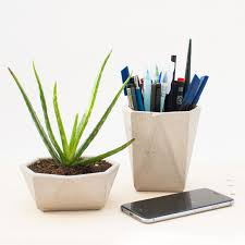 concrete planters set 2x concrete geometric pots concrete desk
