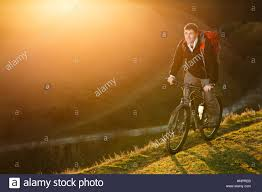 mountain biker riding on bike in spring inspirational mountains
