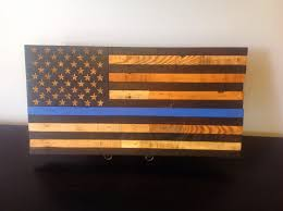 Thin Blue Line Flag Wooden American Flag Police Thin Blue Line Reclaimed Wood Burned